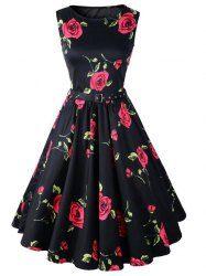 Retro Style Round Neck Sleeveless Roses Print Women's Ball Gown Dress