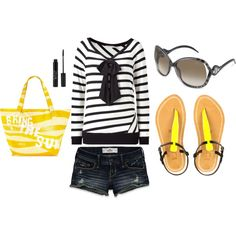 Black and White Stripe Bow Top with Pop of Yellow :)