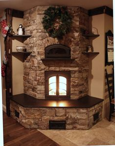 Corner Fireplace Ideas - Warming up your room with some corner fireplace ideas for your house. Some people might not feel comfortable about placing the fireplace area in the corner because it's not the most common design of a fireplace. Corner Stone Fireplace, Stone Fireplace Designs, Stacked Stone Fireplaces, Country Fireplace, Home Fireplace, Living Room With Fireplace, Fireplace Ideas, Modern Fireplace, Distressed Fireplace