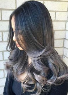 Granny Silver/ Grey Hair Color Ideas: Dark Grey Ombre Hair