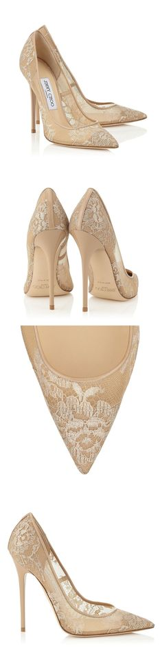 Jimmy Choo Anouk Nude Lace Pointy Toe Pumps