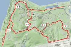 16-mile cycling route all within the Presido of San Francisco, via 7x7