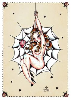 Spider Woman by Susana Alonso Sexy Pin-Up Girl Tattoo Canvas Art Print – moodswingsonthenet
