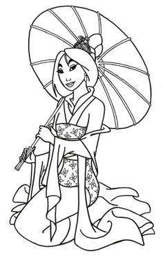 Posing Of Princess Mulan Coloring Pages