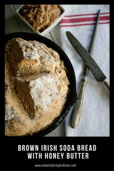Brown Irish Soda Bread with Honey Butter -Dense, moist and hearty, with Honey Butter. A perfect quick bread for St Patty's Day or your favorite soup or stew. Good Food, Yummy Food, Delicious Recipes, Honey Butter, Soda Bread, Irish Recipes, Pinterest Recipes, Sweet Cakes, Fun Cooking