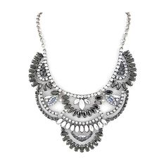Adrianna Statement Necklace Silver ($39) ❤ liked on Polyvore