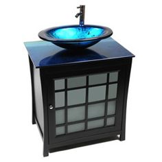 Won't someone persuade me not to get this for my gutted bathroom?     Their words: Simple yet full of character, this modern style vanity is a unique addition to any bathroom. This design features beautiful hardwood and an elegant ocean blue glass top and vessel sink.