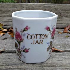 Vintage Porcelain Cotton Jar Moss Rose Bath Vanity Home-Décor offered by Ruby Lane shop Saltymaggie's Treasures