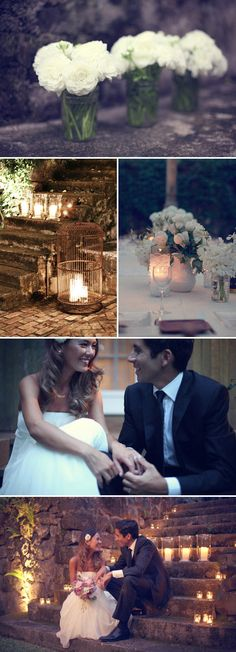 vintage hawaii wedding - I love the bottom picture with the candles as well as the jars with big flowers - add some ribbon and burlap?