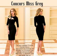 Find more about the Miss Grey ocntest on our Facebook page, participate and win this little black dress: https://missgrey.ro/ro/home/rochie-nataly-neagra/286?utm_campaign=campanie_8martie&utm_medium=-natalyneagra_concurs&utm_source=pinterest_concurs