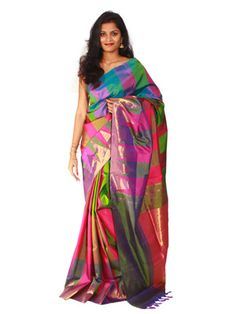Uppada Saree checks with temple border design #Uppada #Sarees