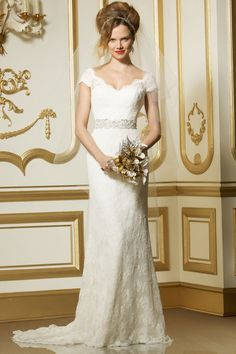 Brush Train Off-the-shoulder Column Natural Waist Lace Wedding Dress#GRY7802