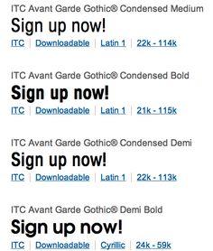 ITC Avante Garde Gothic Condensed / Demi Bold