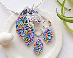 Polymer clay Unicorn jewelry set, multicolor unicorn set, fairy jewelry set, unicorn jewelry, Unicorn gift,Unicorn accessories,unicorn lover