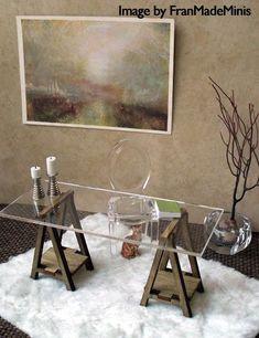 Miniature IKEA Inspired VIKA Desk Kit for 1:12 Scale Modern Dollhouse in Wood. $16.50, via Etsy.