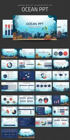 Ocean PPT. Travel Infographics. Ppt Design, Powerpoint Design Templates, Creative Powerpoint, Brochure Design, Layout Design, Powerpoint Presentations, Booklet Design, Design Posters, Flyer Template