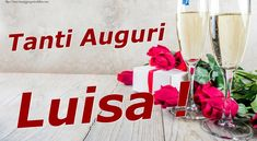 Crea cartoline personalizzate di compleanno | Tanti Auguri Luisa ! Alcoholic Drinks, Table Decorations, Glass, Personalized Greeting Cards, Happy Birthday Cards, Christmas Ornaments, Drinkware, Alcoholic Beverages, Corning Glass