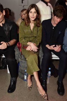 Alexa Chung attends the Christian Cowan fashion show during New York Fashion Week The Shows at Gallery II at Spring Studios on February 10 2018 in...