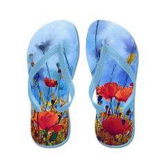 Red Poppy on Blue Flip Flops> Flip Flops> Dreams.Inc
