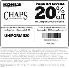 Chaps, 20% OFF at KOHL'S. Be sure to repin and share the savings.