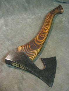 vintage viking style bearded hatchet axe hammer POLISHED & BLUED custom handle