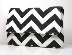 Clutch Purse  Black and White Chevron  Ready to by OceanPearlBags, $25.00