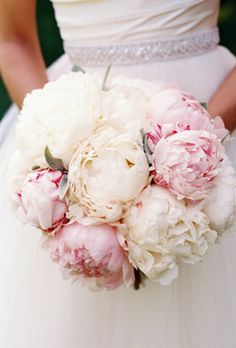 peony bouquet--beautiful! And pretty dress!!