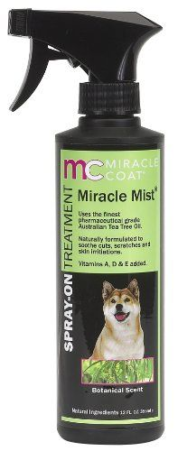 $10.59-$10.59 Miracle Mist Spray-on Treatment for Dogs incorporates the natural benefits of Australian Tea Tree Oil.  Our natural design is PH balanced especially for dogs and is formulated with pharmaceutical grade Tea Tree oil.  Far more effective than Aloe Vera, it soothes cuts, scratches and skin irritations often due to flea and tick dermatitis.  This spray also helps relieve itching and pai ...
