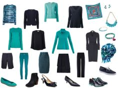 Navy and turquoise travel wardrobe from the Vivienne Files