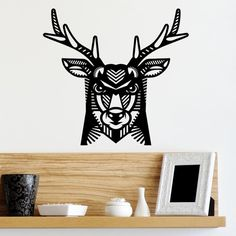 Wall Decal Deer, Antlers, Home Decor, Vinyl Sticker Decal - Good for Walls, Cars, Ipads, Mirrors Etc by PSIAKREW on Etsy
