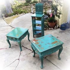 Shabby Chic Table Set, seafoam green, w/ distressed, bird & antique, wrought iron accents, side table, end table, bookcase, living room set by ReincarnatedwithLove on Etsy https://www.etsy.com/listing/266216044/shabby-chic-table-set-seafoam-green-w