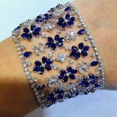 Best Diamond Bracelets : Diamond and Sapphire Bracelet Sapphire Bracelet, Sapphire Jewelry, Sapphire Earrings, Diamond Bracelets, Bling Jewelry, Diamond Jewelry, Jewelry Accessories, Jewelry Design, Bangles