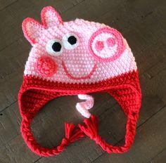 Peppa Pig or George Crochet Hat Handmade to by CrochetByDana