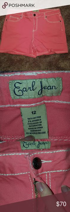 EARL JEAN SHIRTS ~ Gorgeous Melon Color New w/o Ta EARL JEAN SHIRTS ~ Gorgeous Melon Color New w/o Tags ~ size 12 ~ 98% cotton 2% spandex. Stunning for Spring and Summer to show off that tan ?? I ship daily (#A2) Earl Jeans Shorts