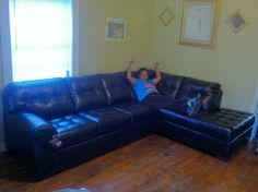 Happy Customer of The Week: You can be this happy with a new sectional in your home too! - http://charlotteabf.com/happy-customer-week-can-happy-new-sectional-home/ #CustomerSevice, #Furniture