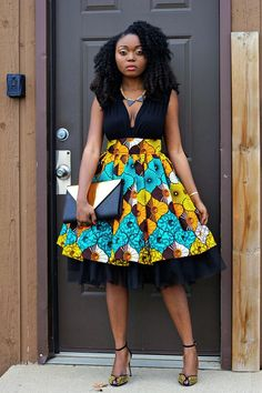 This is a high waist gather skirt made out of ankara african print fabric and a tulle fabric. African Print Skirt, African Print Dresses, African Wear, African Attire, African Fashion Dresses, African Fabric, African Women, African Dress, African Prints