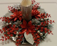Christmas Candle Centerpiece - Red and Silver Snowflake Holiday Decoration Christmas Swags, Christmas Flowers, Silver Christmas, Christmas Crafts, Christmas Ornaments, Nordic Christmas, Modern Christmas, Christmas Flower Arrangements, Christmas Table Centerpieces