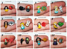 Polymer clay stud earrings - Disney inspired girls by mummuki on Etsy