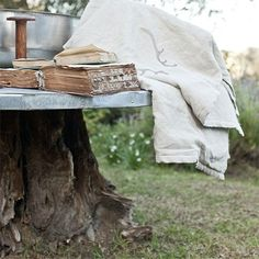 tree stump garden table - Probably one of the best ways to put a tree stump to good use is to re-purpose it into a table. You have a variety of options for topping off the stump; us reclaimed wood or a pallet for a rustic table top, or use laminated pine and top this with a layer of galvanised tin. - See more at: http://www.home-dzine.co.za/garden/garden-tree-stump.htm#sthash.vdOX9d9X.dpuf