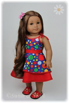 American Girl doll Kanani in a dress by Swish & Swirl #americangirl #americangirldoll #swishandswirl