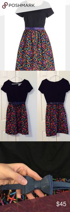 Bea & Dot x Modcloth crayon retro dress w/belt Darling dress in great condition. Cute for a teacher or anyone who works with kids. Size small but runs small - like an xs. Waist ~ 25 inches around. 15 inches from pit to pit. 35 inches long. Zipper down back and it even has pockets! The belt is slightly different than the stock photo. Actual belt is shown up close. Modcloth Dresses