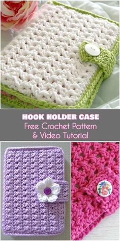Crochet Hook Holder Case [Free Pattern and Video Tutorial] Why not crochet things to help you crochet? I have adored this crochet hook holder from the moment I saw it. The pattern was written Crochet Book Cover, Crochet Case, Crochet Motifs, Crochet Books, Crochet Purses, Crochet Patterns, Crochet Things, Crochet Gratis, Crochet Accessories