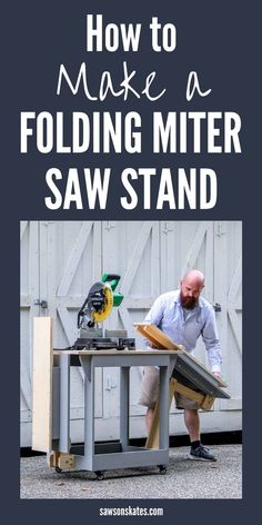 Build a portable DIY miter saw station! The stand folds to save space and has wheels to make it mobile. Perfect for a small workshop, garage or shed. Miter Saw Stand Plans, Diy Miter Saw Stand, Miter Saw Table, Mitre Saw Stand, Table Saw Stand, Diy Table Saw, A Table, Wood Shop Projects, Woodworking Projects Diy
