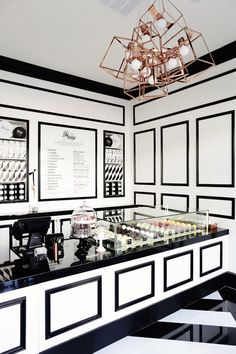 Glamourous vintage interior of Bo Nuage in LA by Jessica Marx Atelier. #pastryshop #interior #design #whiteblack