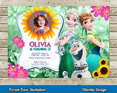 Frozen Fever Invitation for Birthday Party with photo - Customized Thank You Card Inluded! - Digital File