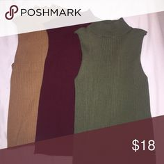 bundle 3 shirts mustard, wine red/maroon, and army green sweater knit trendy tops. Price is for all, open to offers:) all new never worn. Size medium fits closer to small Tops