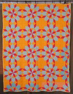 Gorgeous Red Blue Cheddar Orange Stars Quilt Vintage 1930 40s | eBay Vintageblessings