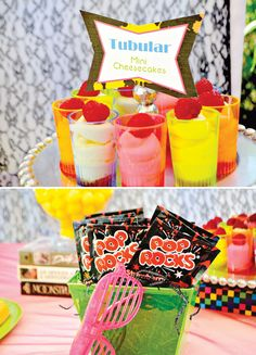 Hip hop party- Pop rocks Neon shot glasses for mini desserts at an Theme Party! Photo by J. At Your Service via Hostess with the Mostess. I Party, Party Time, Party Ideas, Star Party, 80s Party Foods, 80s Birthday Parties, 80s Theme, Mystery Parties, Bridal Shower Favors
