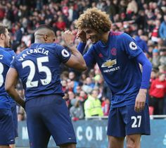 Antonio Valencia of Manchester United celebrates scoring their third goal during the Premier League match between Middlesbrough and Manchester United...