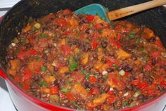 Fork Over Knives Quick Black Bean & Sweet Potato Chili Vegan, No-oil- made this on 3/14/13 and it was very good, the potatos should cook longer and i would serve it with noodles